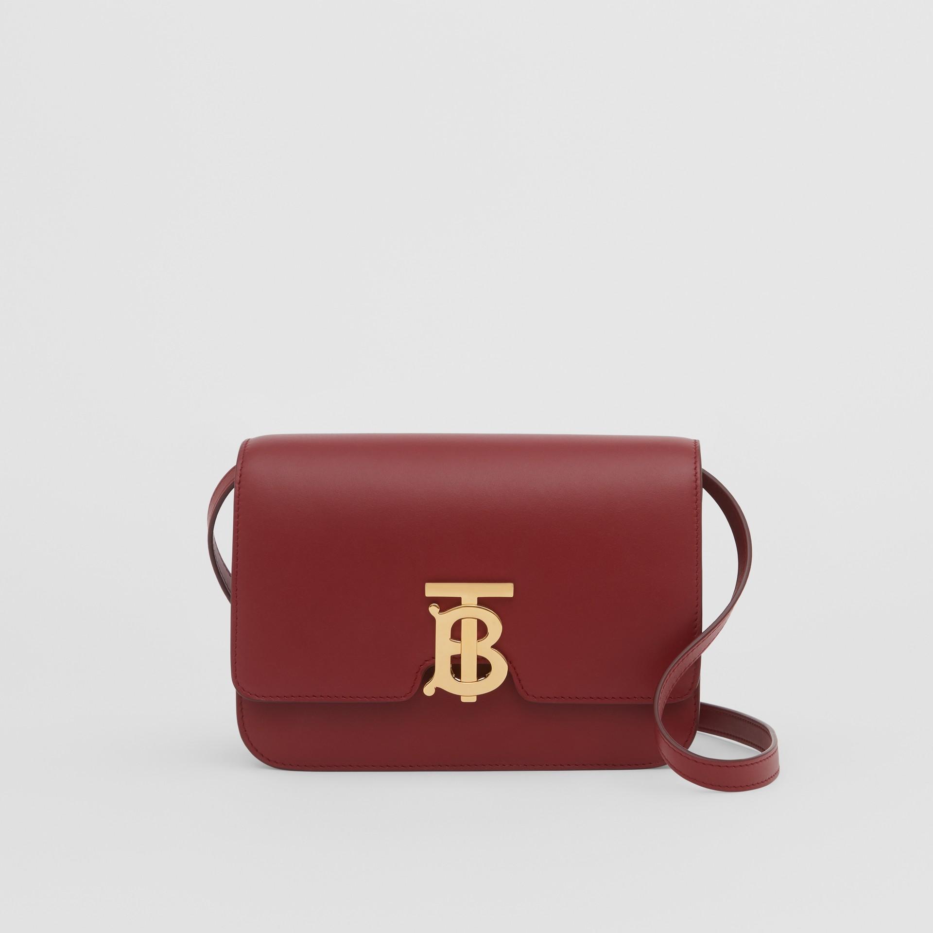Small Leather TB Bag in Dark Crimson - Women   Burberry - gallery image 0