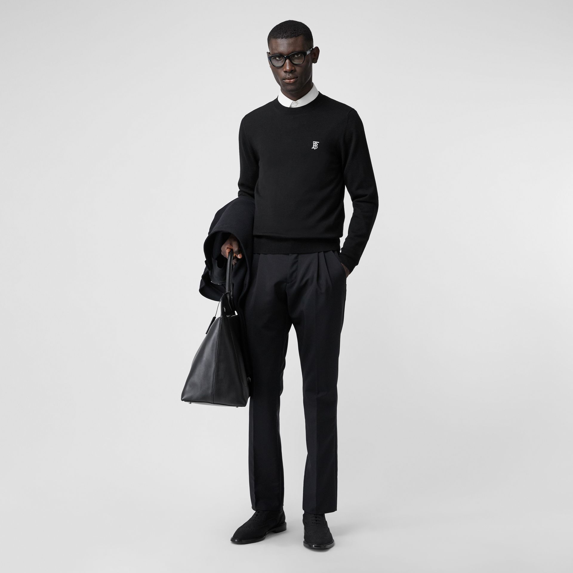 Monogram Motif Merino Wool Sweater in Black - Men | Burberry Australia - gallery image 0
