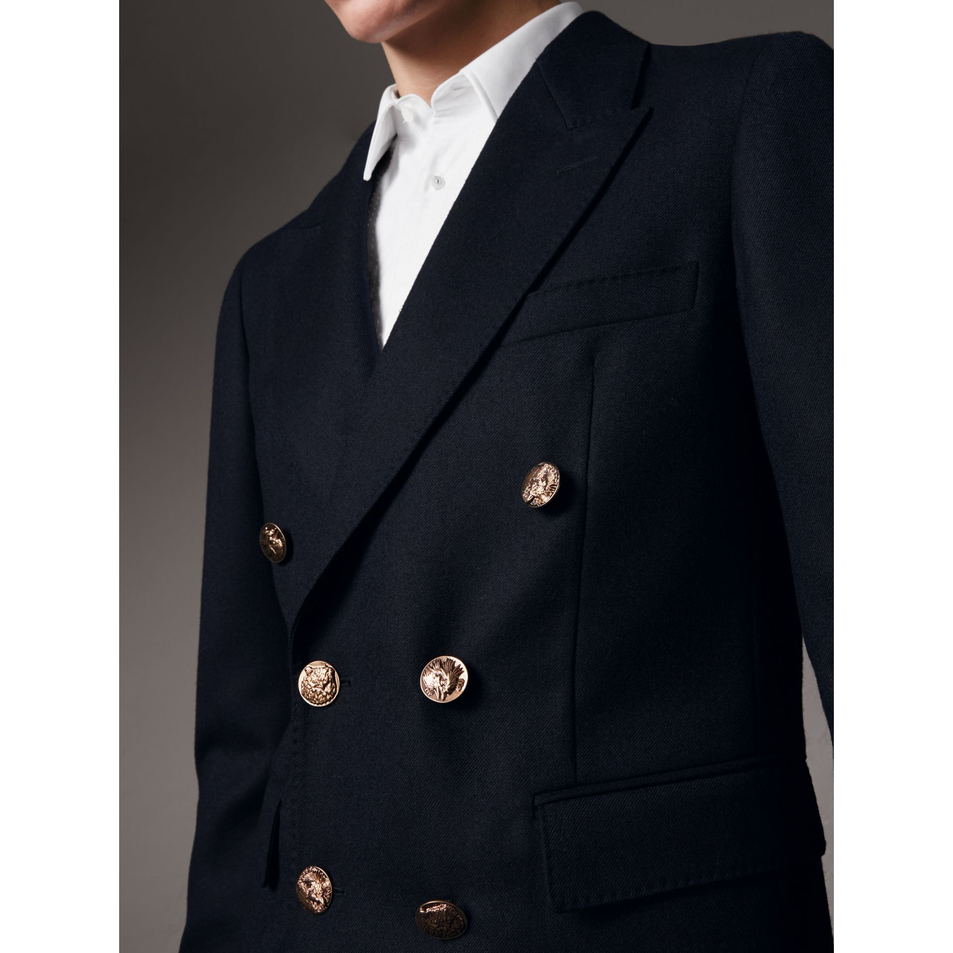 Slim Fit Wool Tailored Jacket with Bird Buttons in Navy - Men | Burberry - gallery image 2