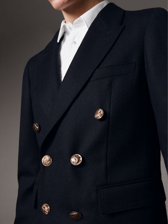 Slim Fit Wool Tailored Jacket with Bird Buttons in Navy - Men | Burberry - cell image 1