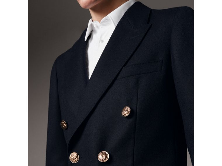 Slim Fit Wool Tailored Jacket with Bird Buttons in Navy - Men | Burberry Singapore - cell image 1