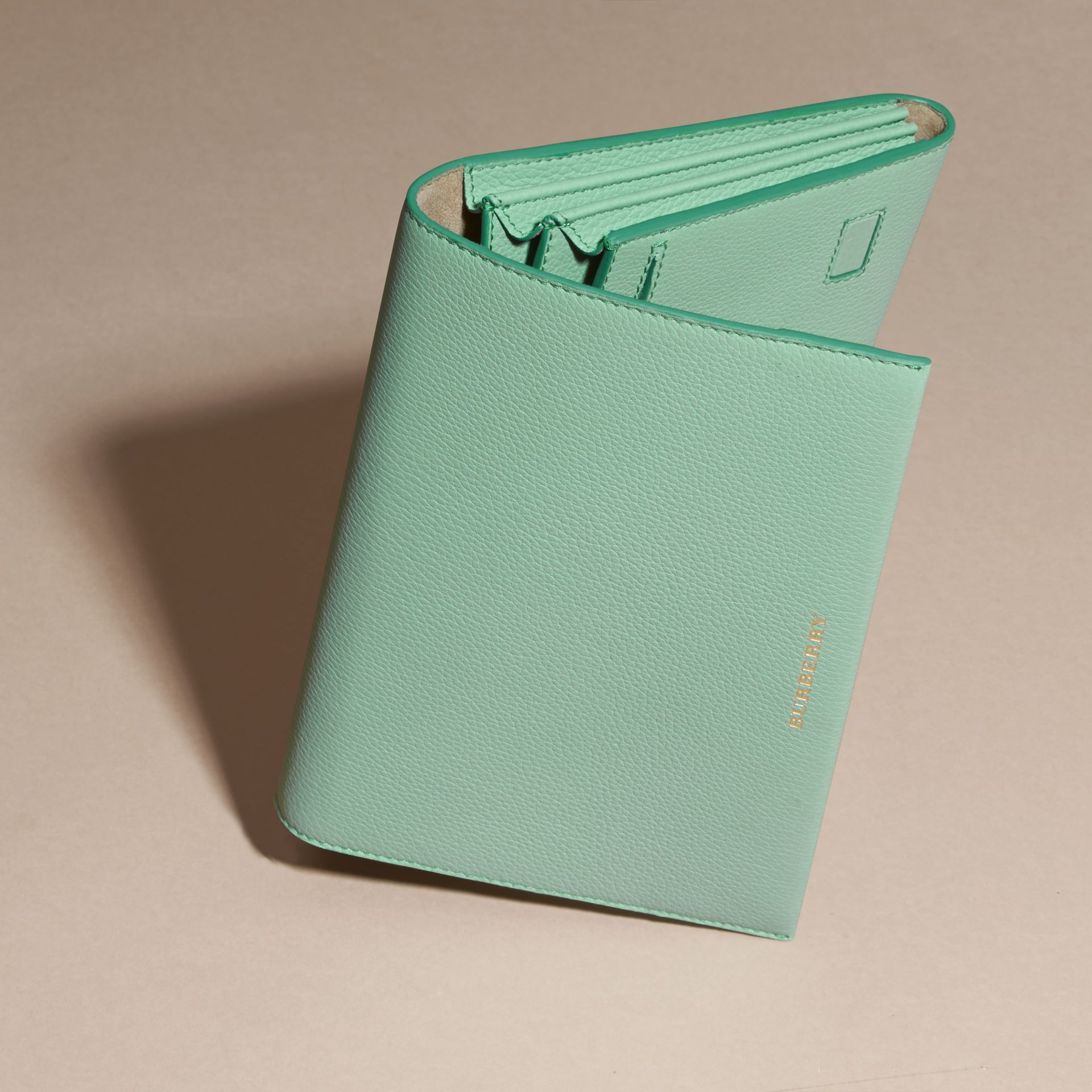 Light mint Grainy Leather Travel Wallet Light Mint - gallery image 3