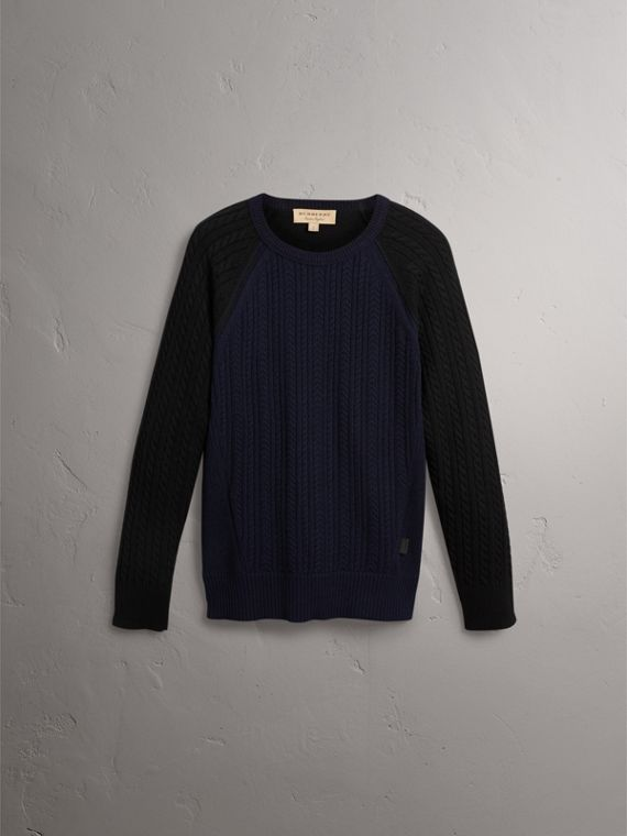 Two-tone Cable Knit Cashmere Sweater in Navy - Men | Burberry - cell image 3