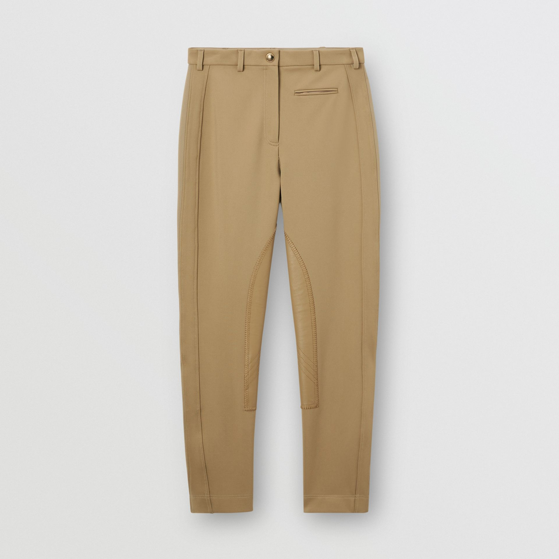 Lambskin Panel Stretch Crepe Jersey Trousers in Honey - Women | Burberry United States - gallery image 3