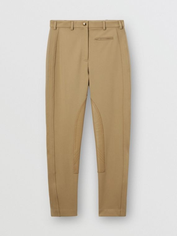 Lambskin Panel Stretch Crepe Jersey Trousers in Honey