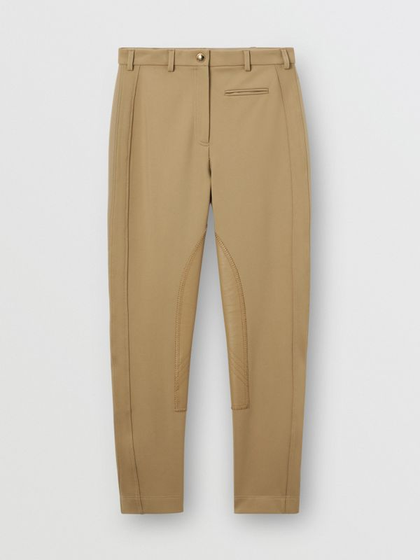Lambskin Panel Stretch Crepe Jersey Trousers in Honey - Women | Burberry United Kingdom - cell image 3