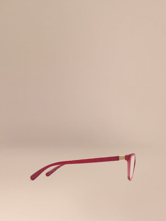 Red Check Detail Cat-eye Optical Frames Red - cell image 3