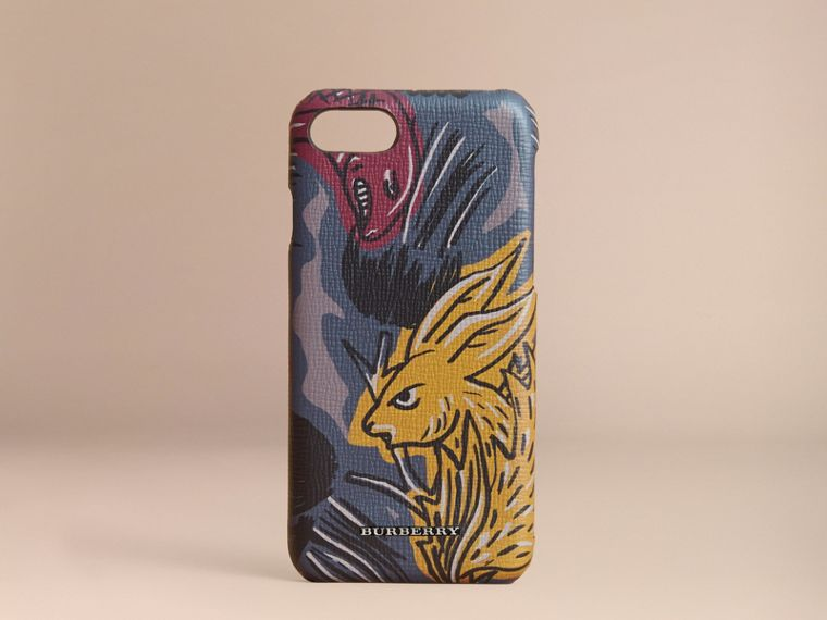 Beasts Print London Leather iPhone 7 Case - Men | Burberry - cell image 4