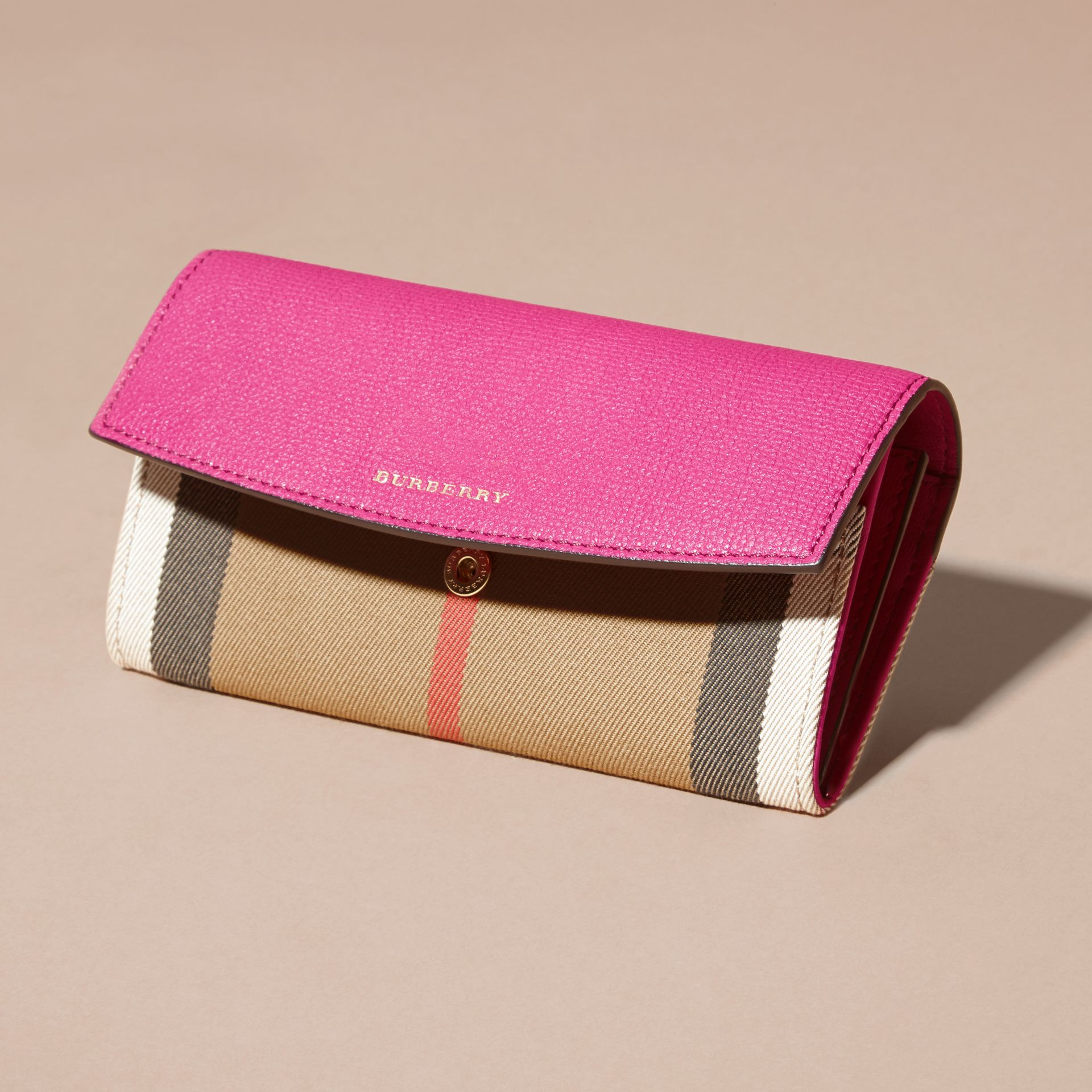 House Check and Leather Continental Wallet Brilliant Fuchsia - gallery image 5