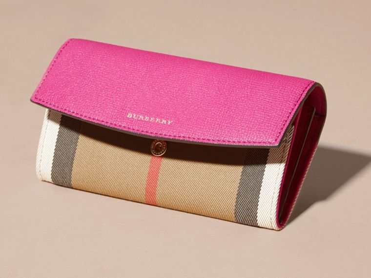 House Check and Leather Continental Wallet in Brilliant Fuchsia - Women | Burberry - cell image 4