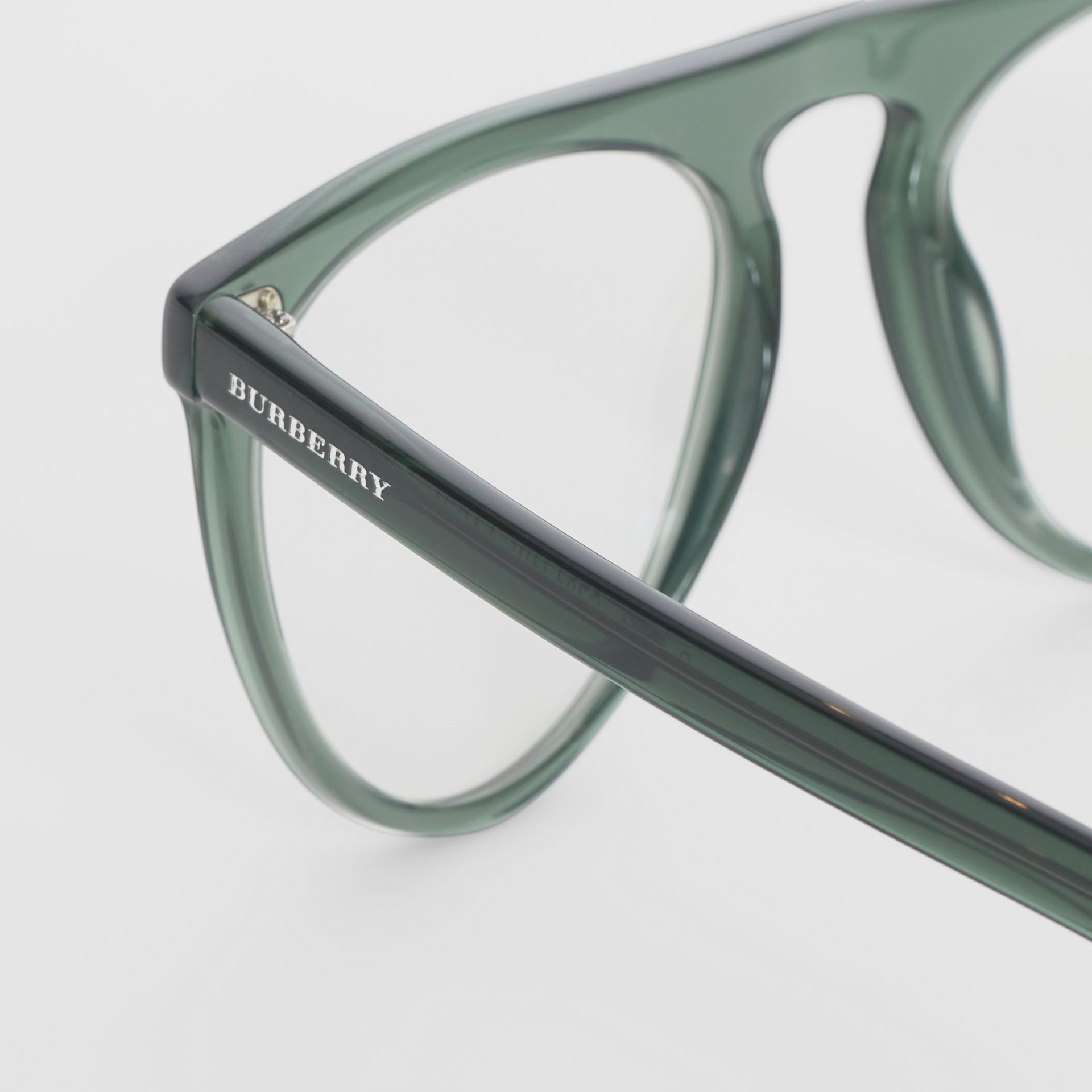 Keyhole D-shaped Optical Frames in Green - Men | Burberry United Kingdom - gallery image 1