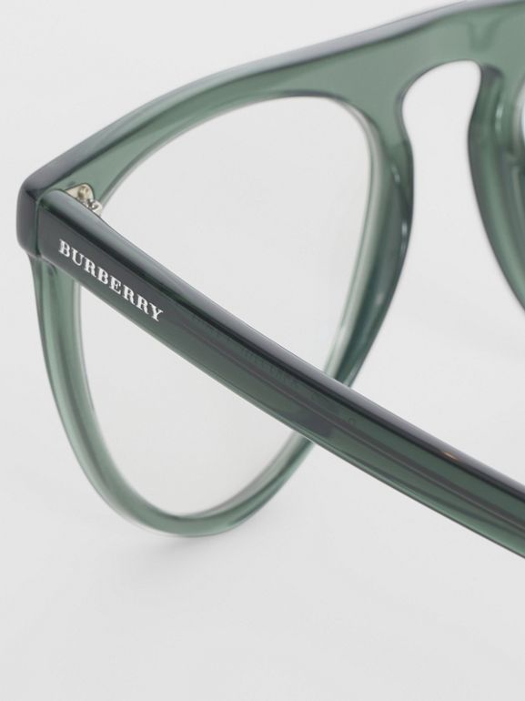 Keyhole D-shaped Optical Frames in Green - Men | Burberry - cell image 1