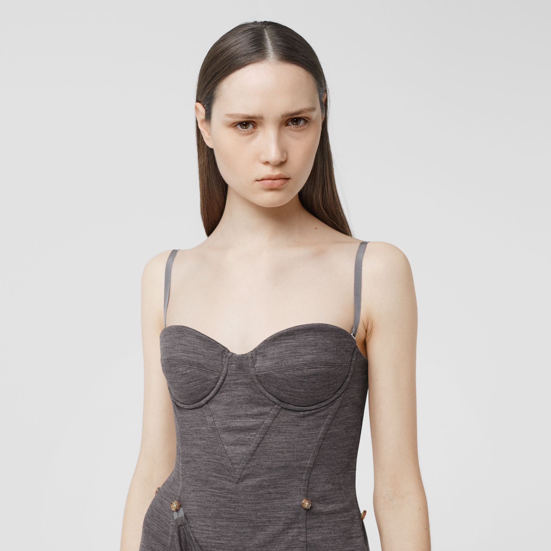 Asymmetric Technical Wool Corset Dress in Charcoal Grey | Burberry United Kingdom - gallery image 1