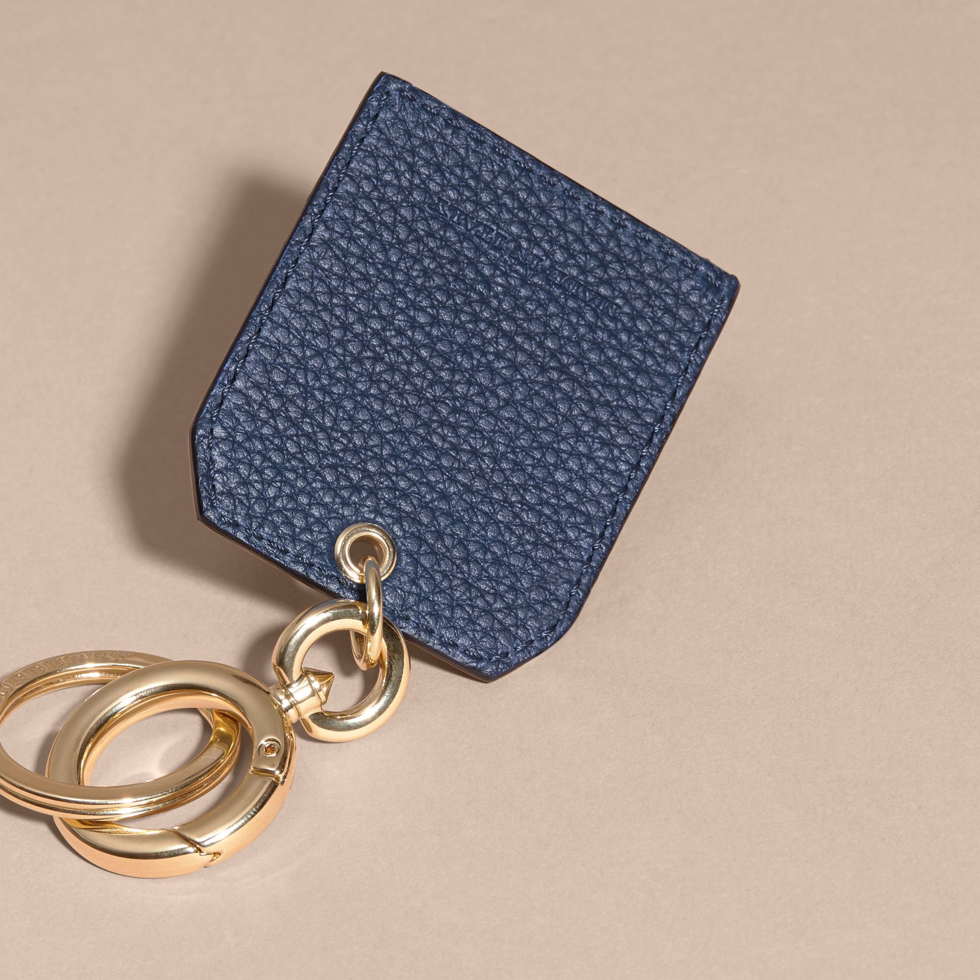 Grainy Leather Key Charm in Bright Navy - Women | Burberry Australia - gallery image 4