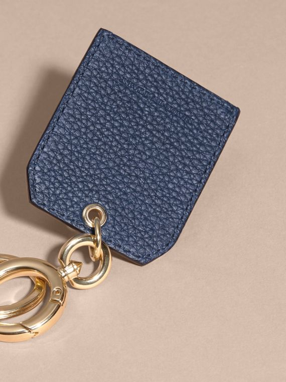 Grainy Leather Key Charm in Bright Navy - Women | Burberry Australia - cell image 3