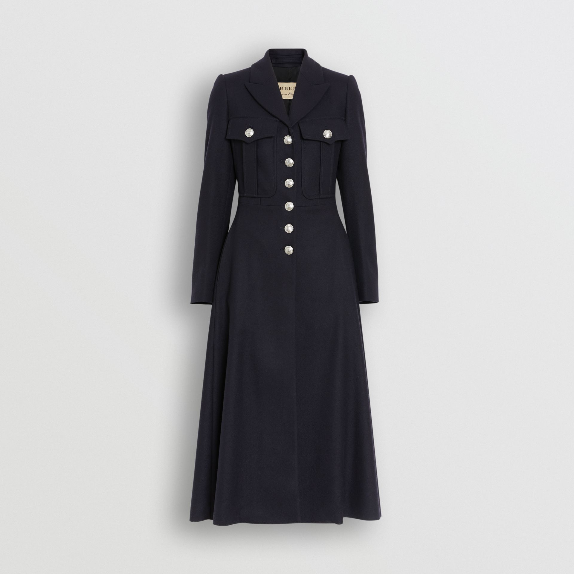 Melton Wool Tailored Coat in Navy - Women | Burberry United Kingdom - gallery image 3