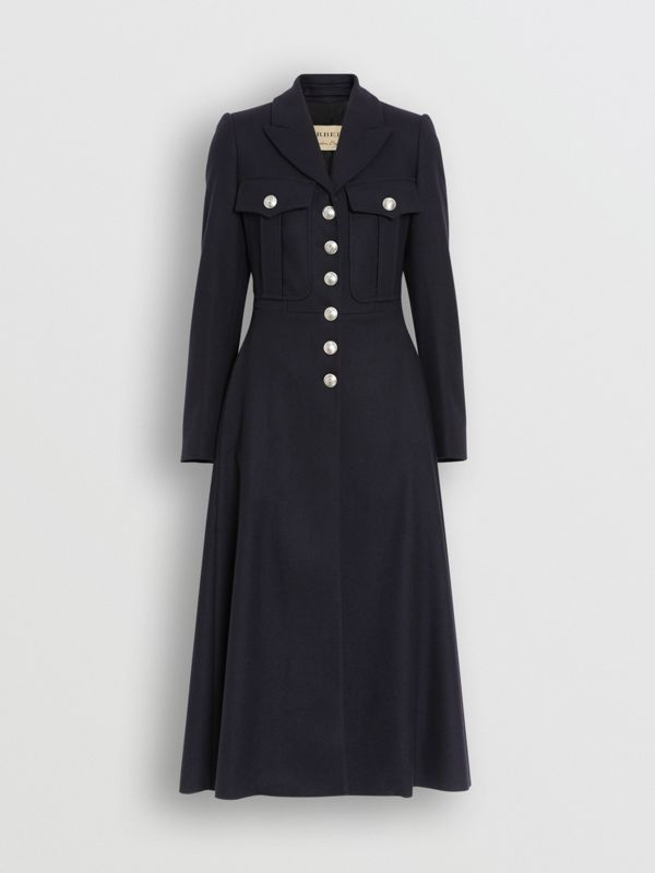 Melton Wool Tailored Coat in Navy - Women | Burberry - cell image 3