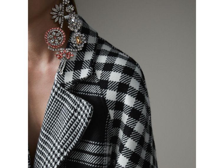Reversible Multi-check Wool Cashmere Coat in Black/white - Women | Burberry Hong Kong - cell image 1