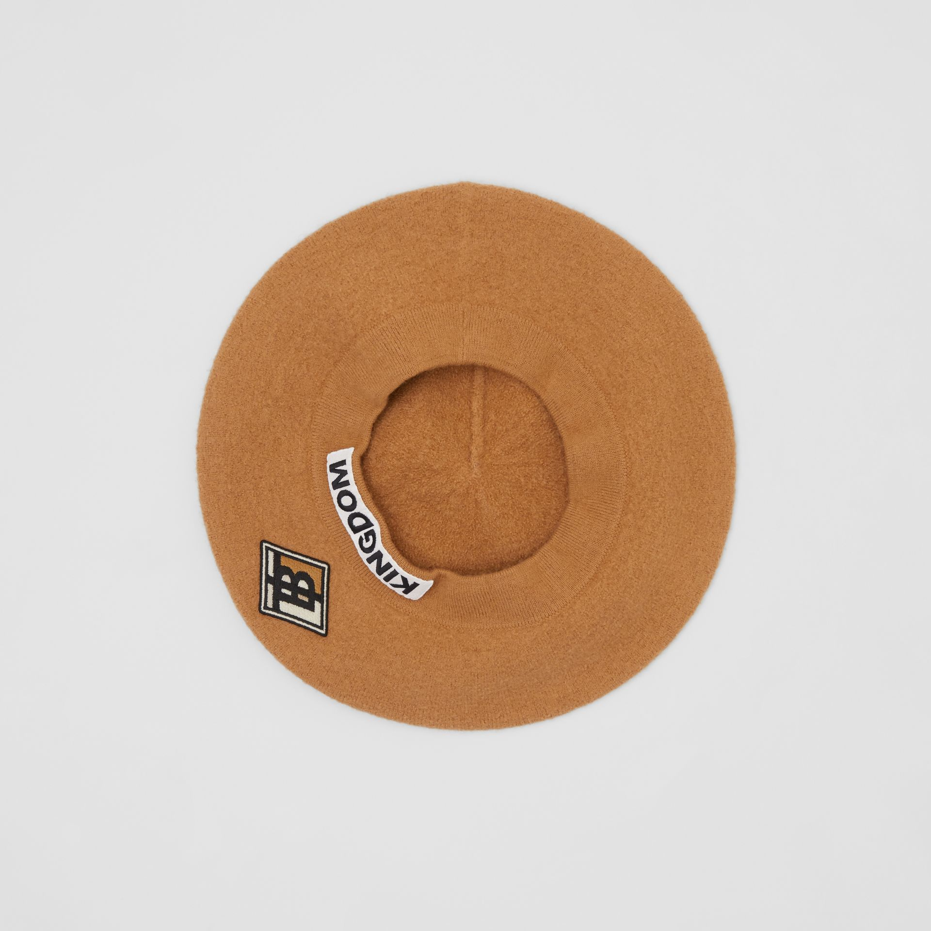 Logo Graphic Merino Wool Beret in Burnt Almond | Burberry Canada - gallery image 4