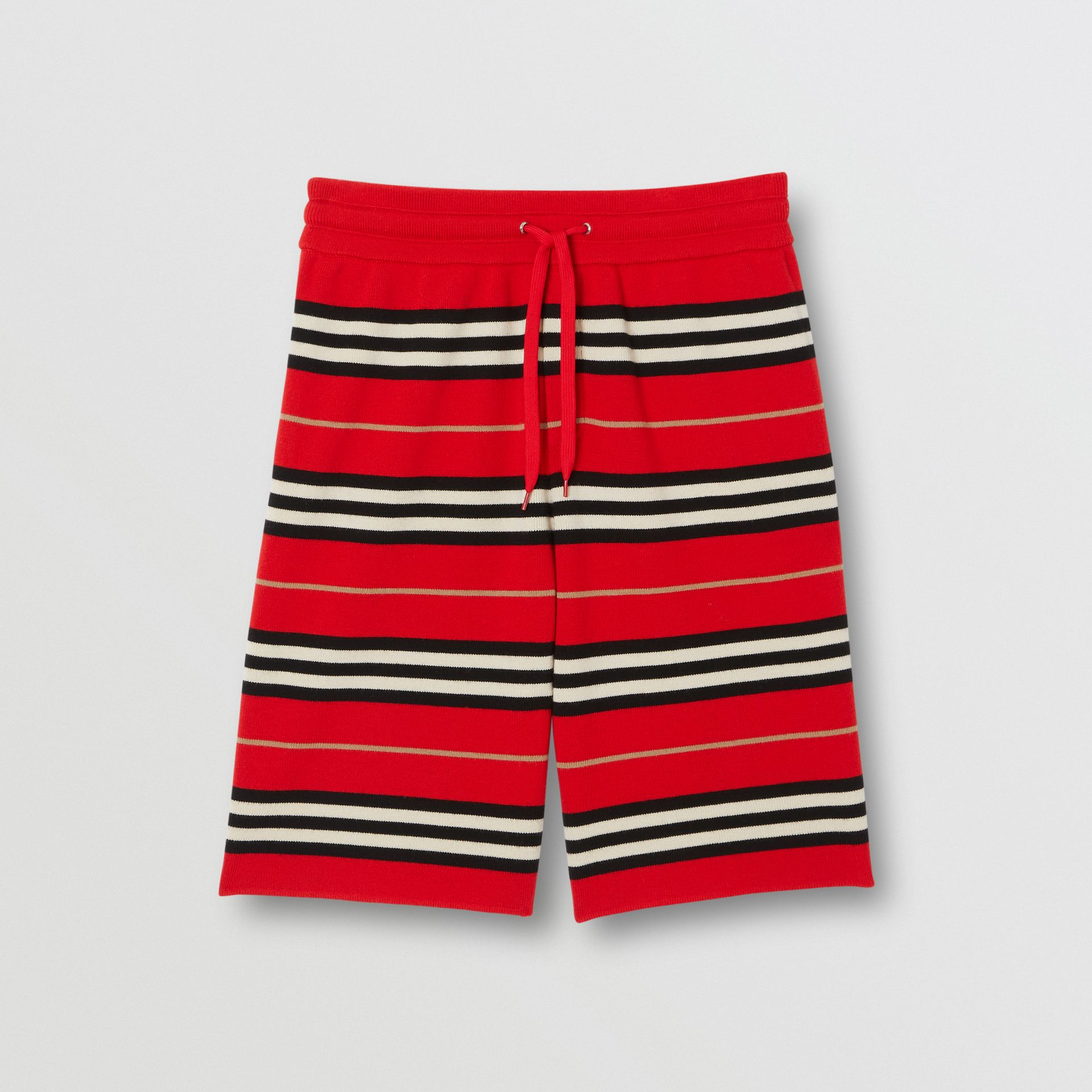 Merino Wool Drawcord Shorts in Bright Red | Burberry - gallery image 3
