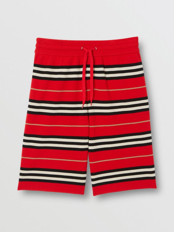 Merino Wool Drawcord Shorts in Bright Red | Burberry - cell image 3