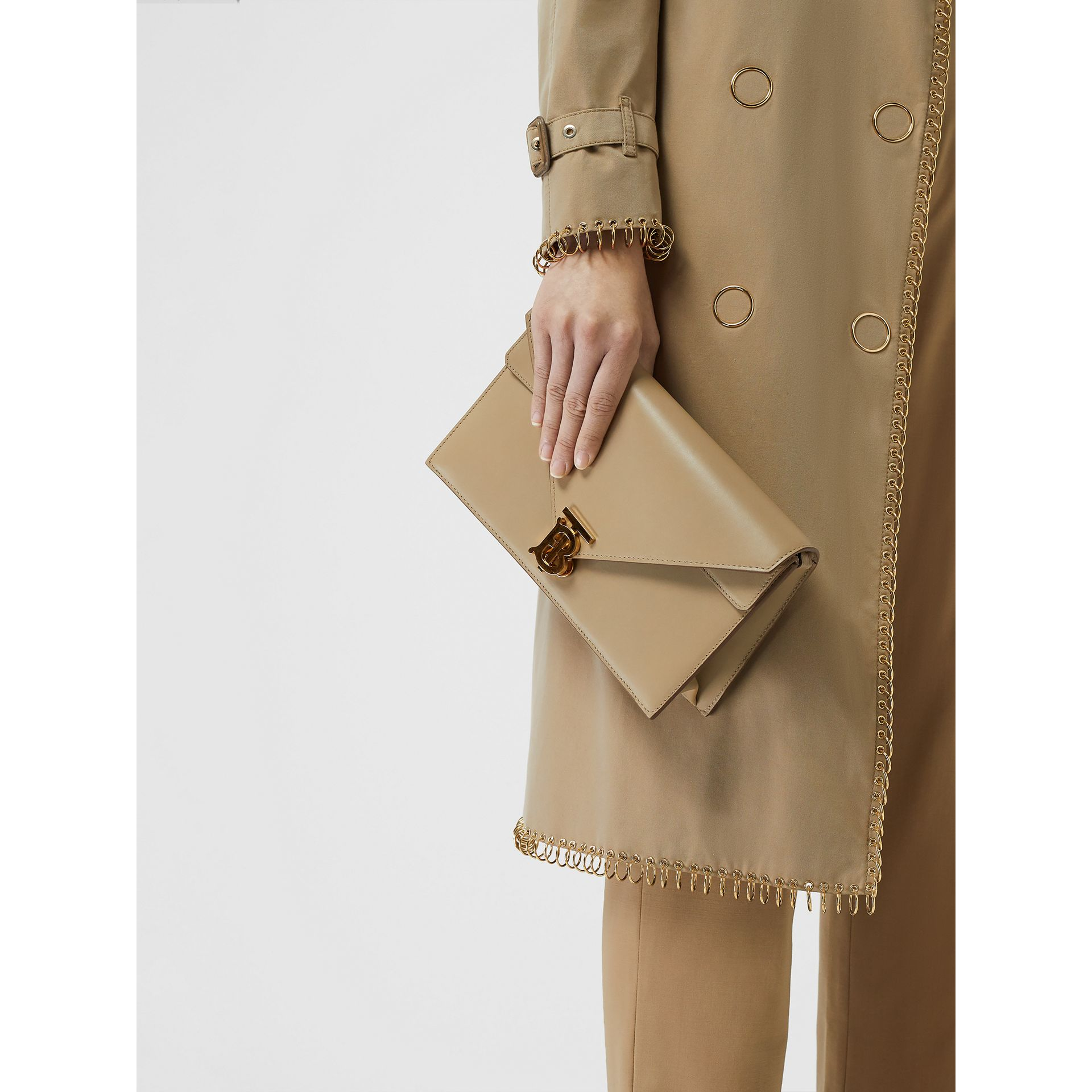 Small Leather TB Envelope Clutch in Honey - Women | Burberry - gallery image 4