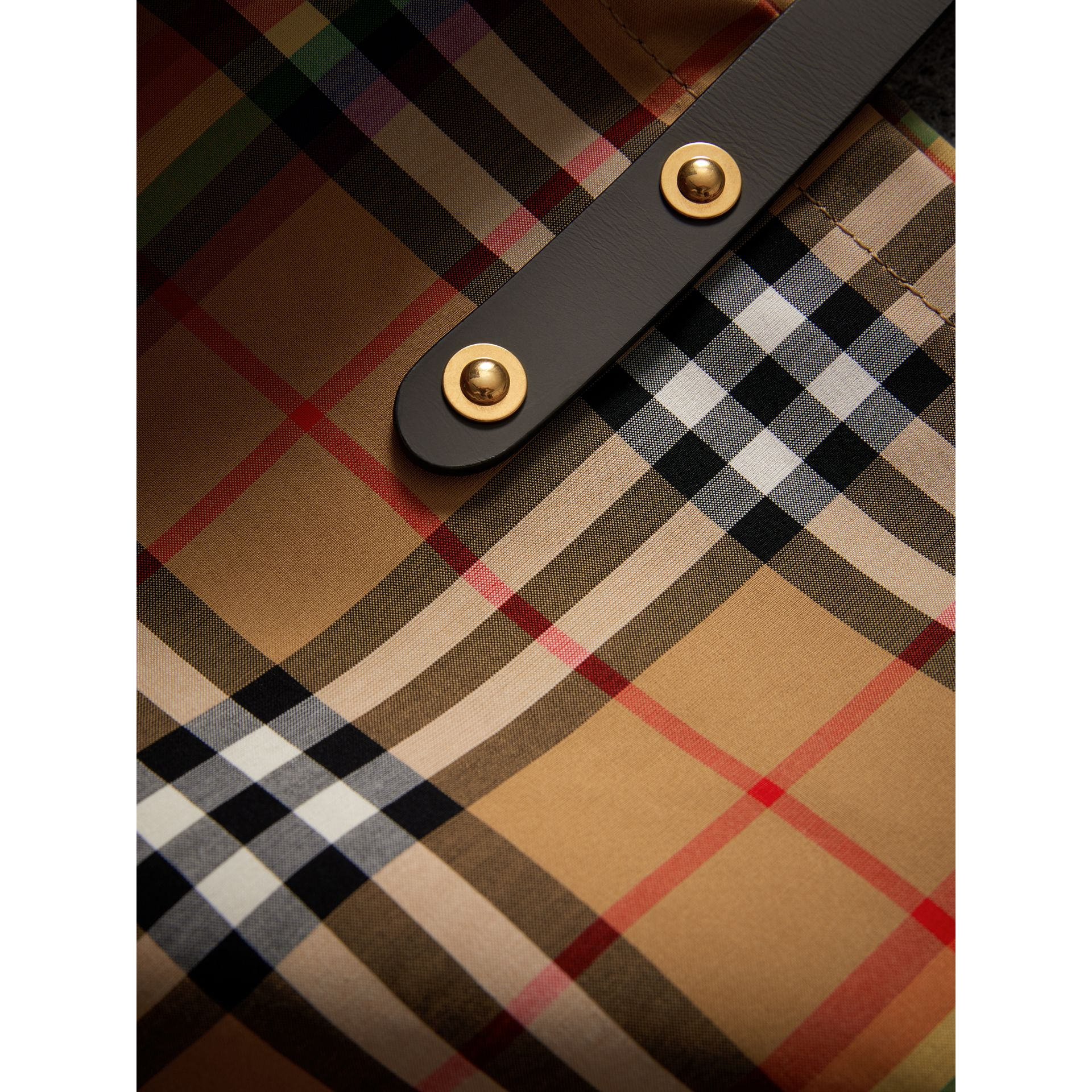Large Rainbow Vintage Check Shopper in Dark Grey | Burberry Canada - gallery image 1