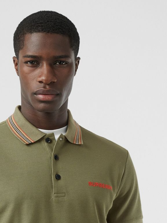 Icon Stripe Detail Cotton Piqué Polo Shirt in Poplar Green - Men | Burberry - cell image 1