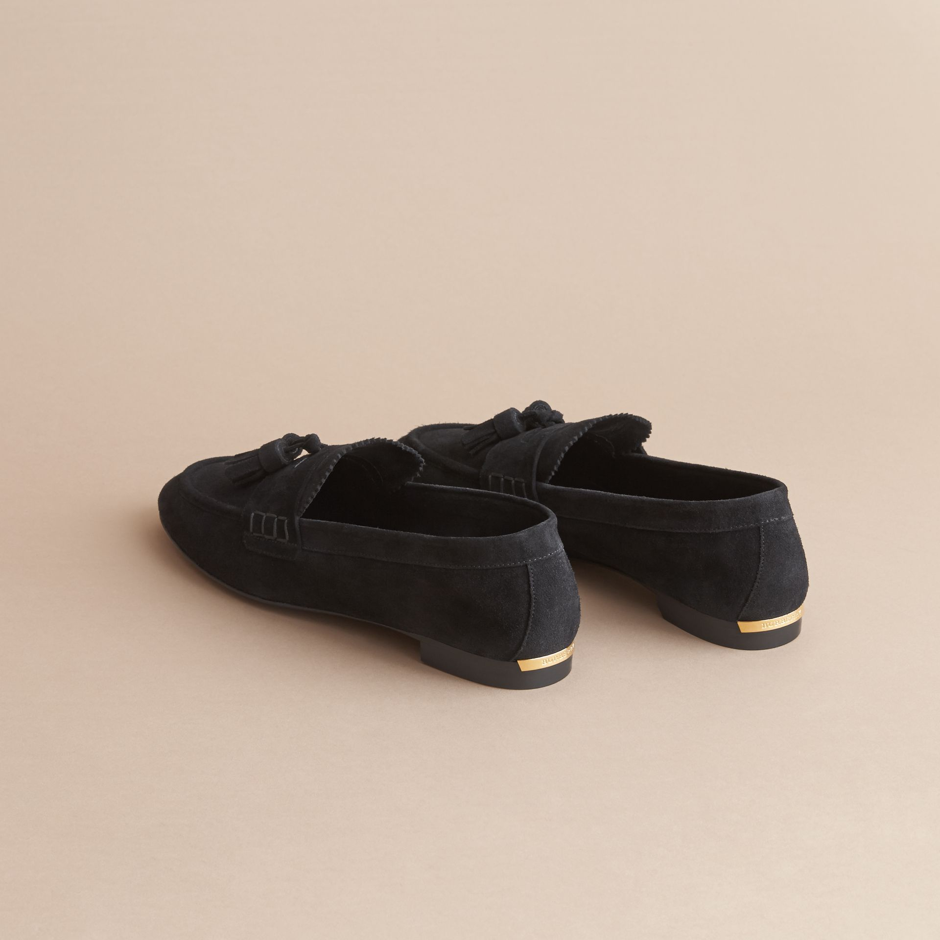 Tasselled Suede Loafers in Black - Women | Burberry - gallery image 4