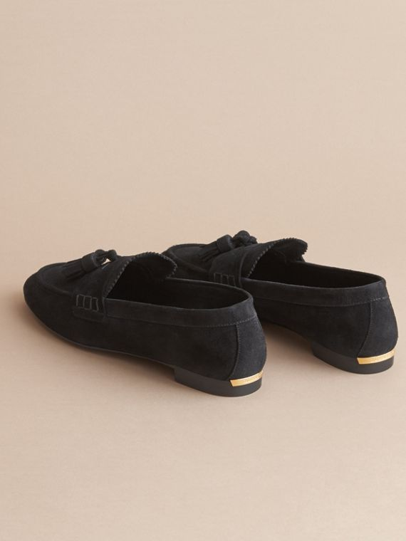 Tasselled Suede Loafers in Black - Women | Burberry - cell image 3