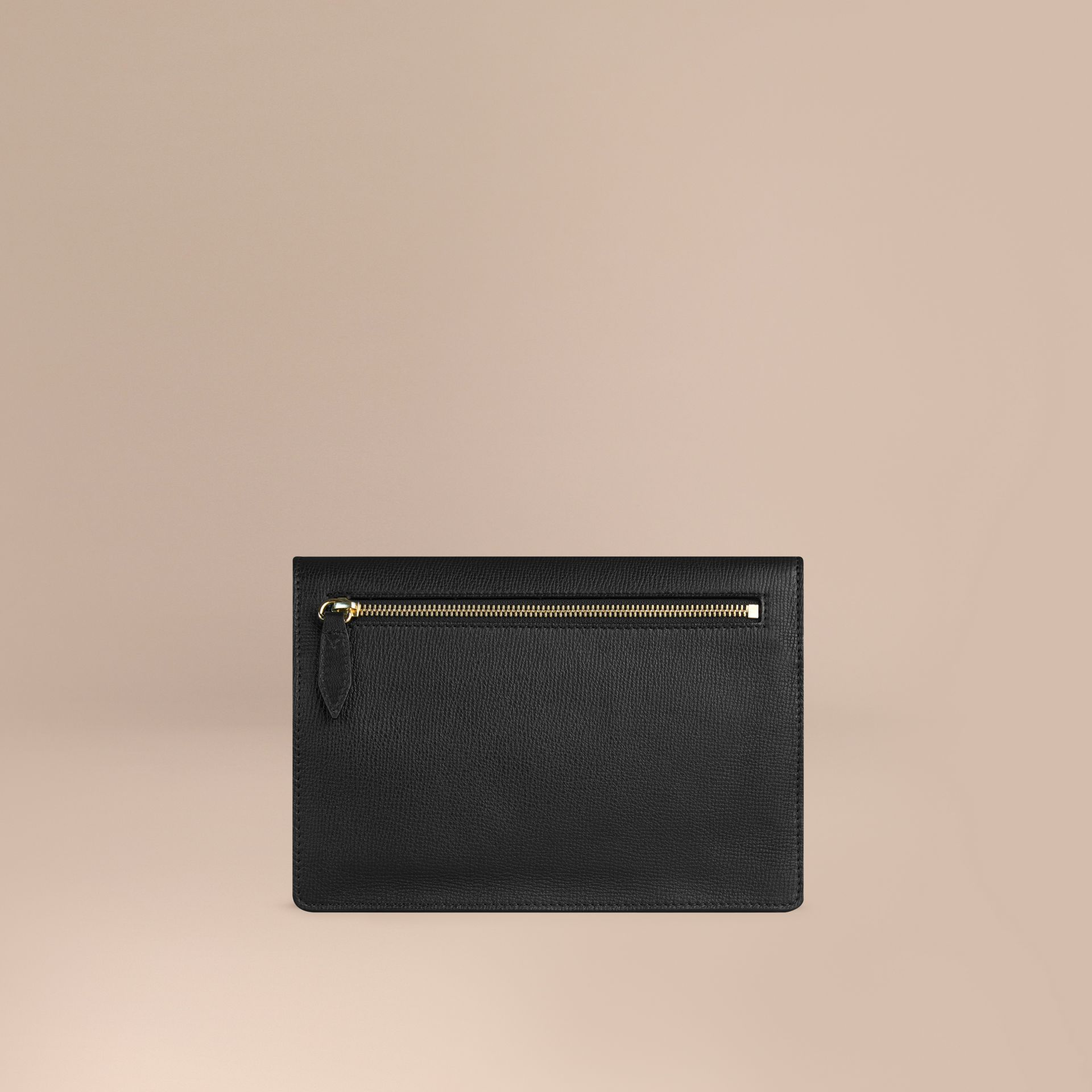 Black Small Leather and House Check Crossbody Bag Black - gallery image 4