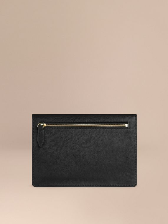 Small Leather and House Check Crossbody Bag in Black - cell image 3