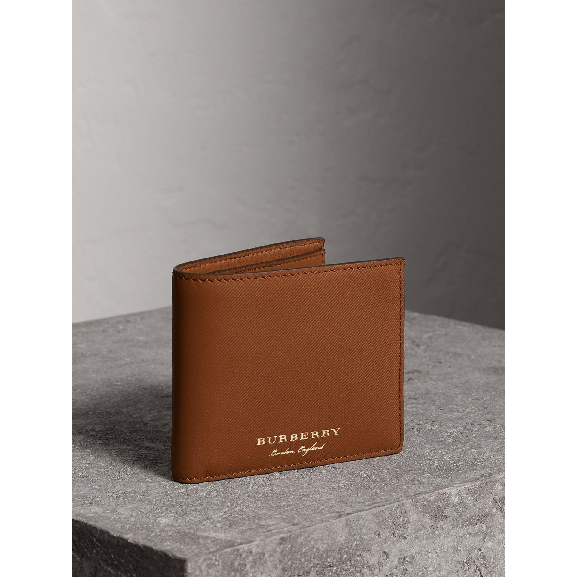 Trench Leather International Bifold Wallet in Tan - Men | Burberry - gallery image 0
