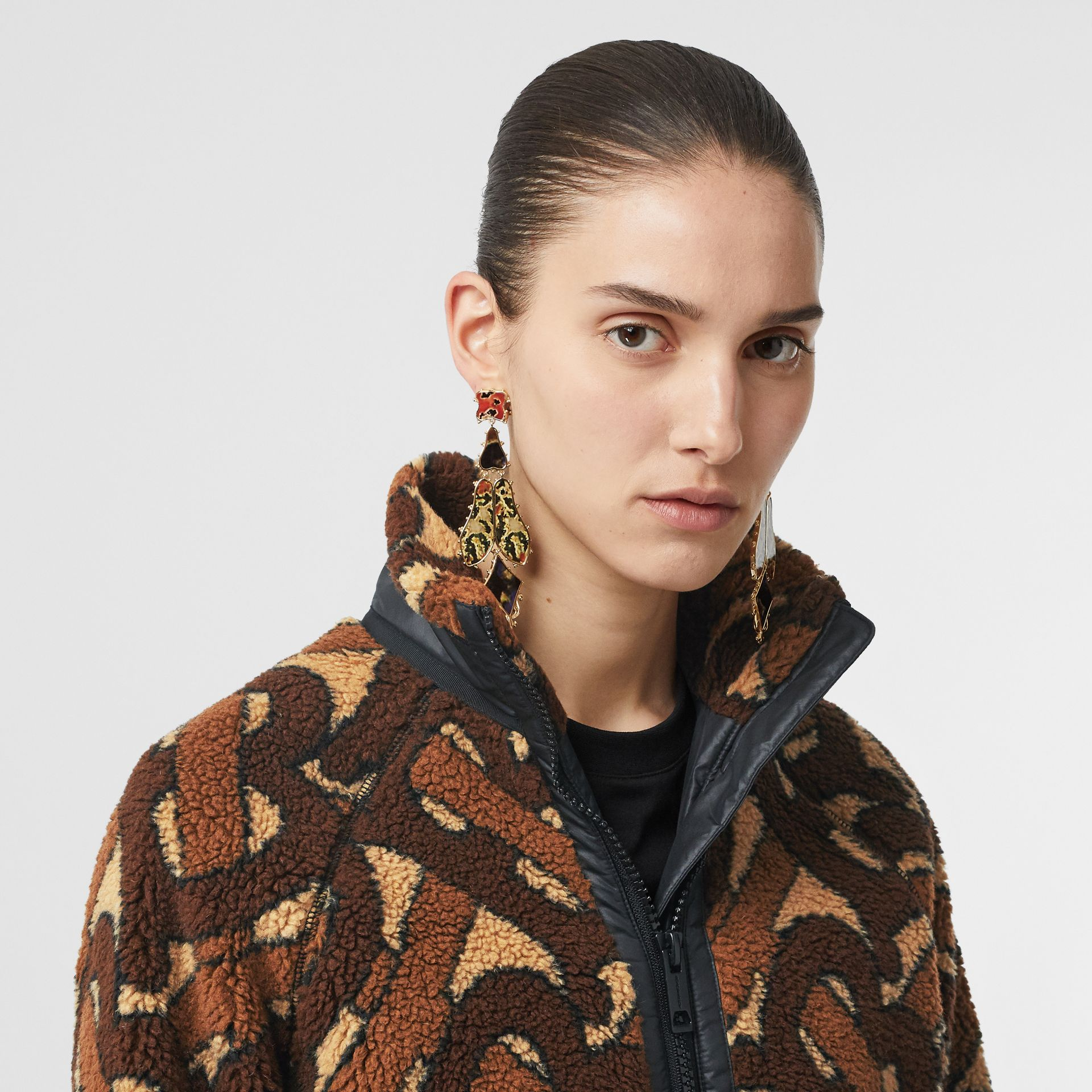 Monogram Fleece Jacquard Jacket in Bridle Brown - Women | Burberry United States - gallery image 1