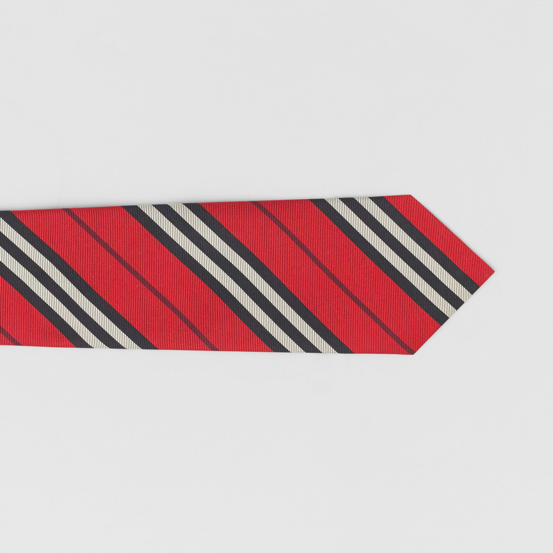 Classic Cut Striped Silk Jacquard Tie in Bright Red - Men | Burberry - gallery image 1