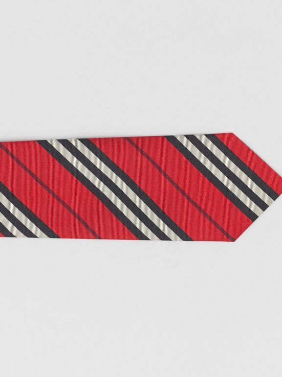 Classic Cut Striped Silk Jacquard Tie in Bright Red - Men | Burberry - cell image 1