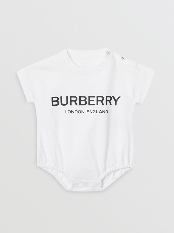 Logo Print Cotton Four-piece Baby Gift Set in Black/white - Children | Burberry Singapore - cell image 3