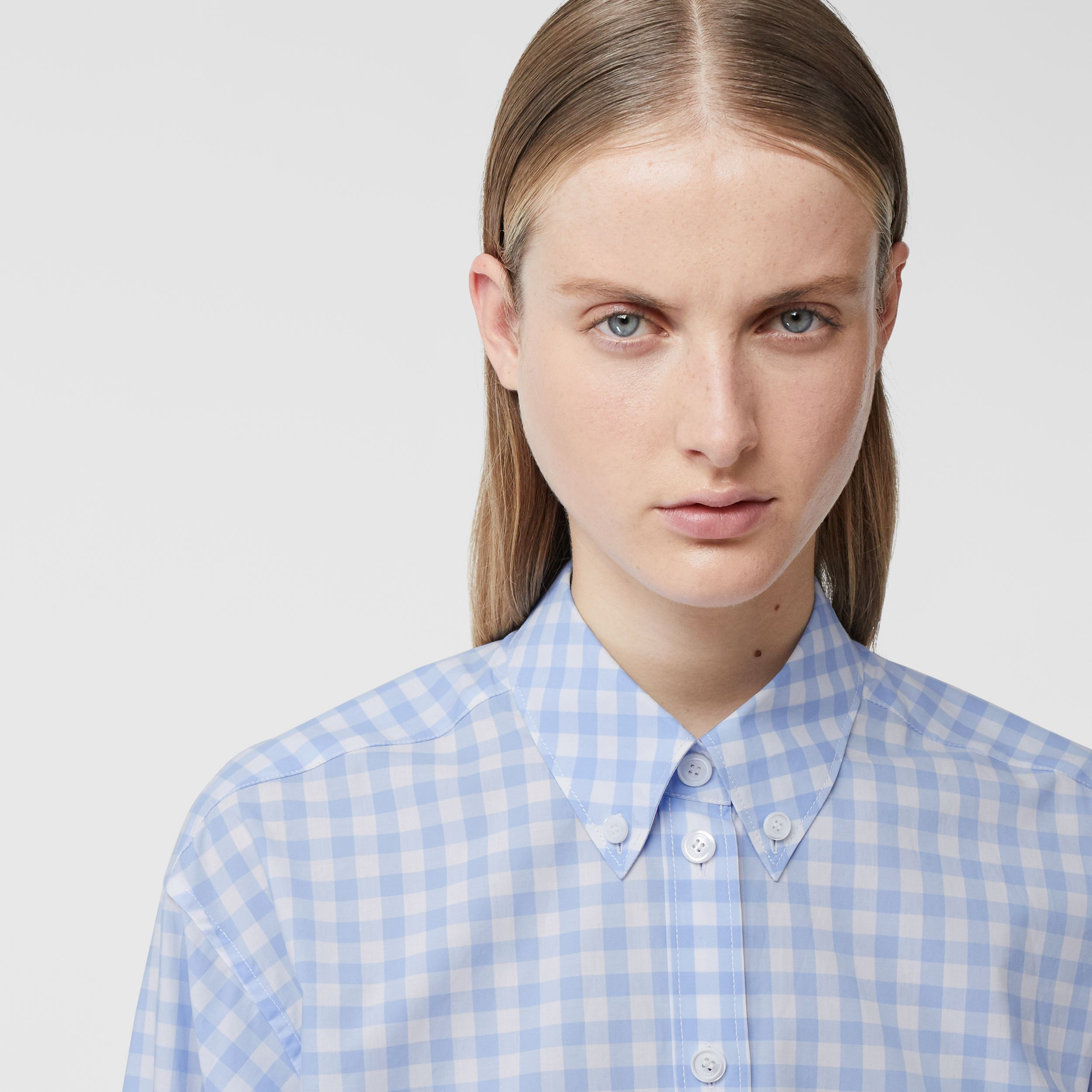 Gingham Cotton Poplin Shirt Dress in Pale Blue - Women | Burberry - 2
