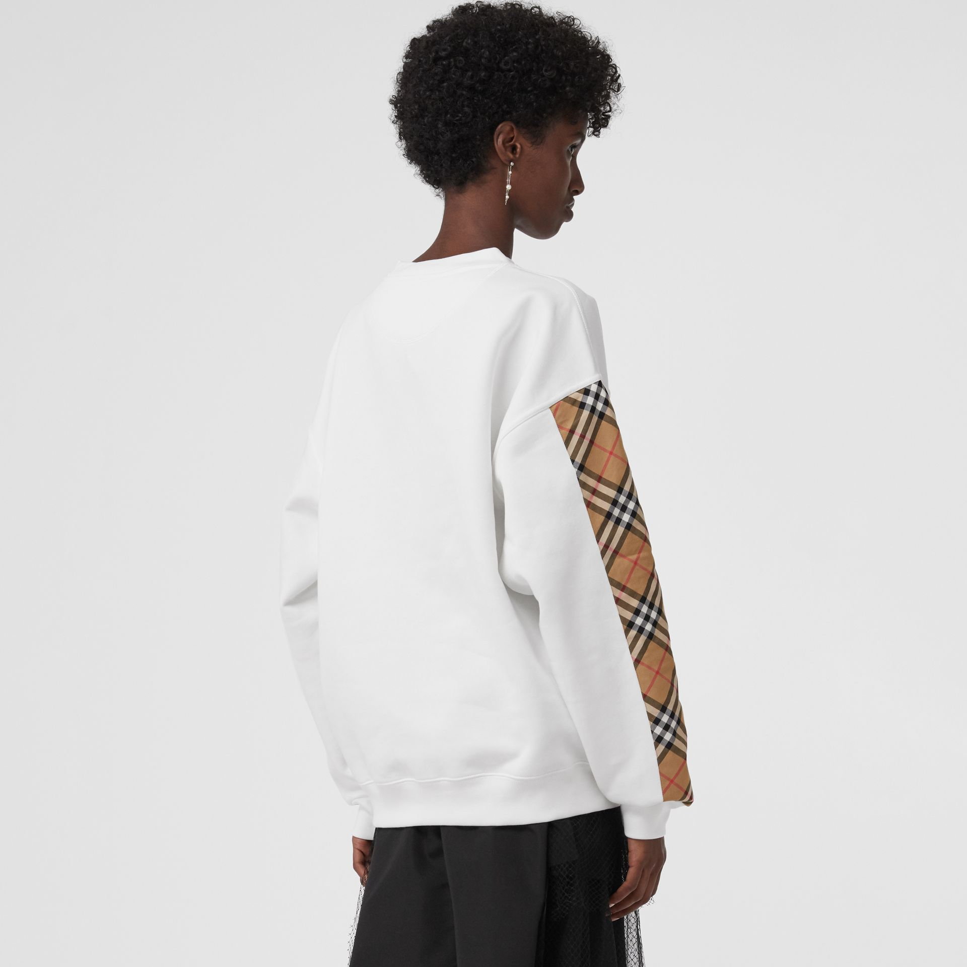 Vintage Check Detail Cotton Blend Sweatshirt in White - Women | Burberry Canada - gallery image 2