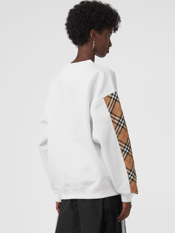 Vintage Check Detail Cotton Blend Sweatshirt in White - Women | Burberry - cell image 2