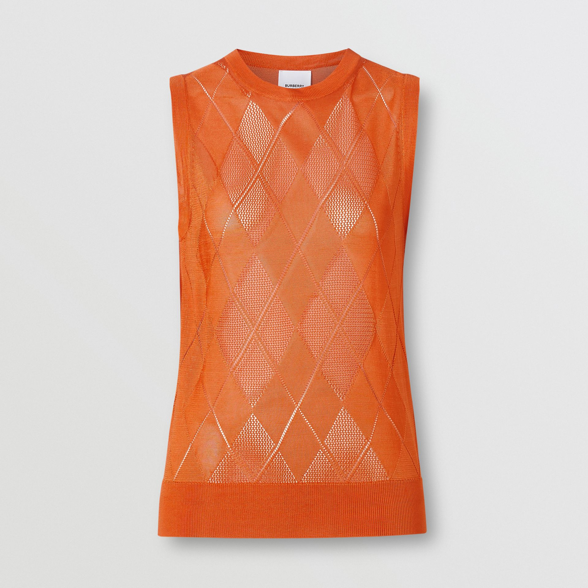 Monogram Motif Pointelle Knit Vest in Orange - Women | Burberry - gallery image 3