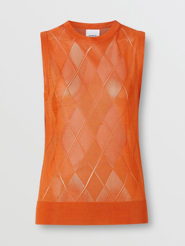 Monogram Motif Pointelle Knit Vest in Orange - Women | Burberry - cell image 3