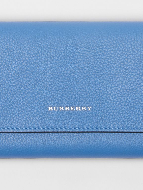 Leather Continental Wallet in Hydrangea Blue - Women | Burberry - cell image 1