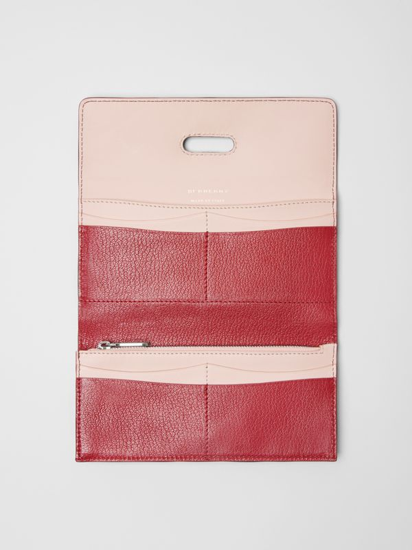D-ring Grainy Leather Continental Wallet in Crimson - Women | Burberry - cell image 2