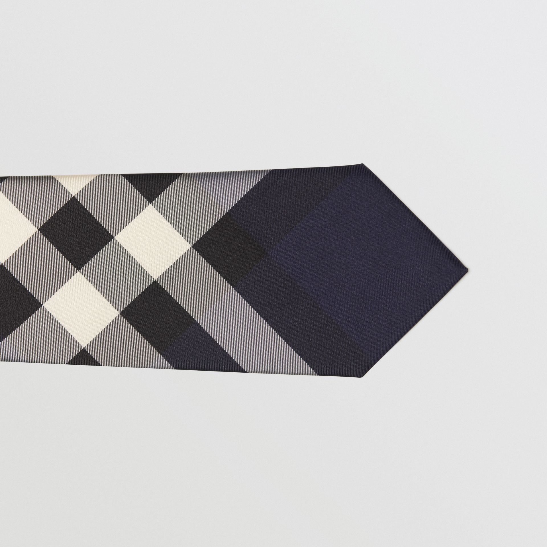 Modern Cut Check Silk Tie in Indigo Blue - Men | Burberry - gallery image 1