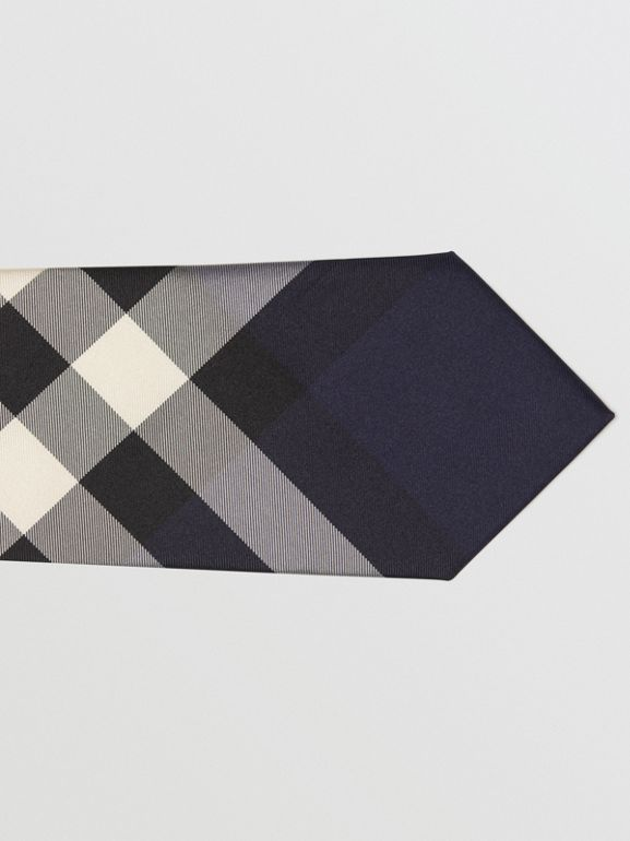 Modern Cut Check Silk Tie in Indigo Blue - Men | Burberry - cell image 1