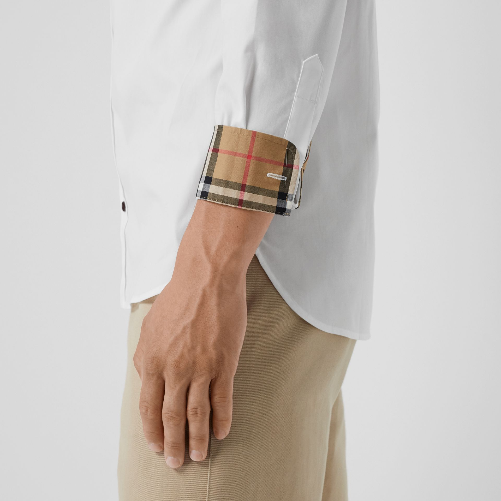 Contrast Button Stretch Cotton Shirt in White - Men | Burberry - gallery image 4