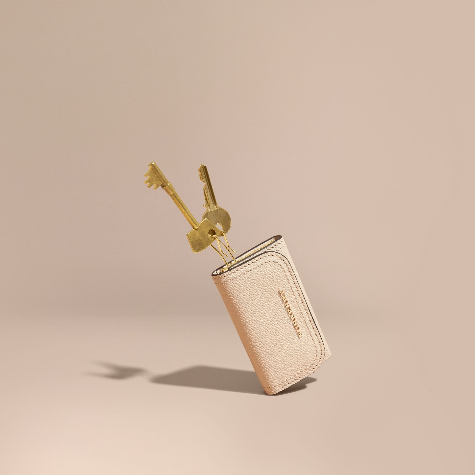 Grainy Leather Key Holder in Limestone - Women | Burberry - gallery image 0
