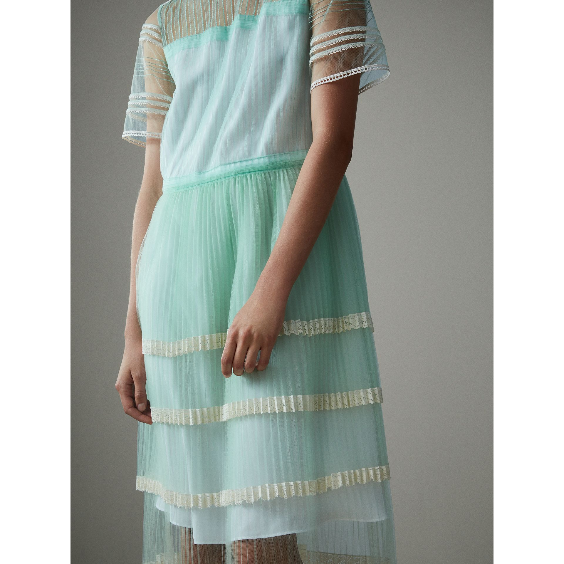 English Lace Trim Pleated Tulle Dress in Light Mint - Women | Burberry - gallery image 4