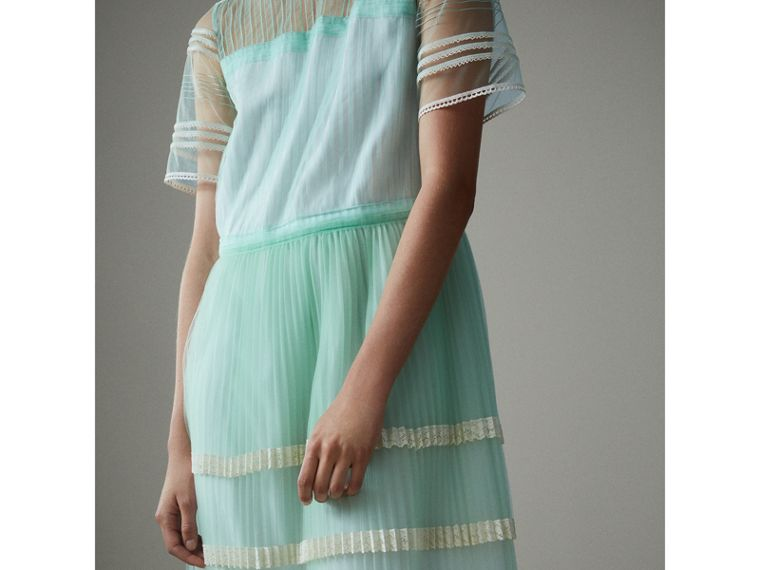 English Lace Trim Pleated Tulle Dress in Light Mint - Women | Burberry - cell image 4